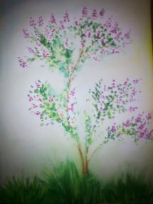 Šeřík akvarel
