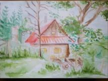 Chaloupka akvarel