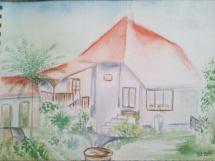 Na zahradě akvarel