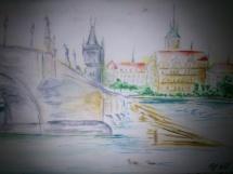 Praha akvarel